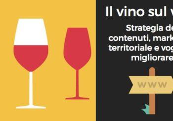 Bicchieri di vino e testo sul vino sul web