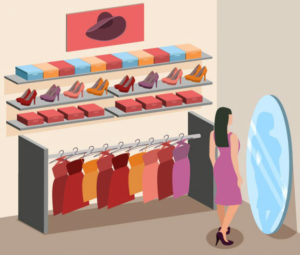 donna vestito shelf marketing