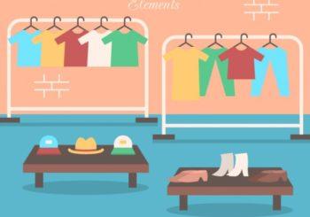 illustrazione scaffali di un negozio d'abbigliamento